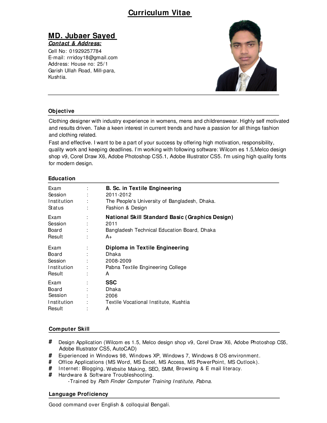 a curriculum vitae sample by few tips on writing a perfect curriculum vitae