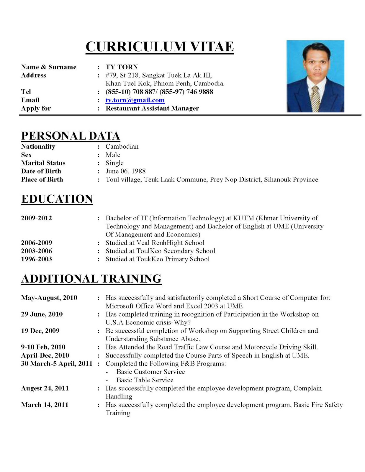 sample of perfect resumes
