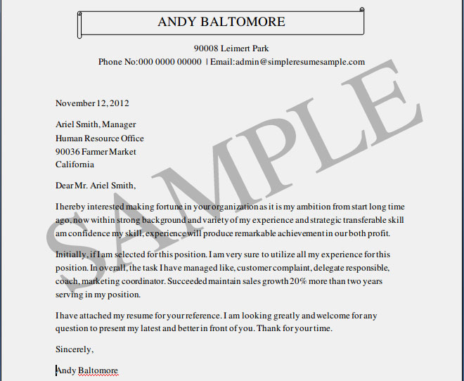 Free Sample Cover Letters For Resumes Resume Cv Cover Letter. What